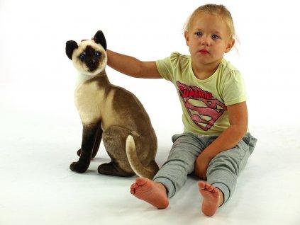 Plyšová sedící kočka Micka siamská, výška 45 cm