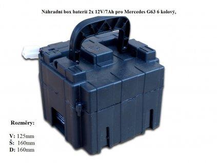 Náhradní box s 2x bateriemi 12V/7Ah pro Mercedes G63 6 kolový, s nabíjením mimo auta,