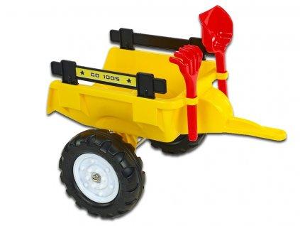 Vlek za traktor Trailer střední s lopatou a hráběmi, 2 kolový, délka 56cm, žlutý