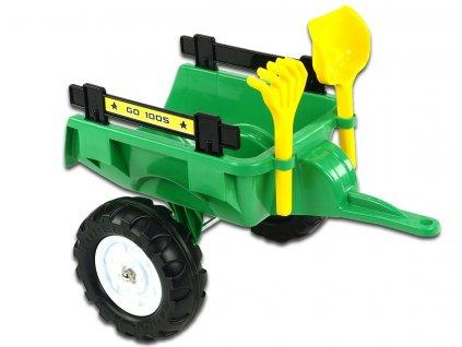 Vlek za traktor Trailer střední s lopatou a hráběmi, 2 kolový, délka 56cm, zelený