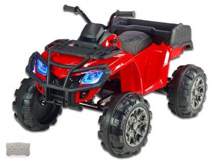 Elektrická čtyřkolka Predator XXL s 2,4G DO, výklopnou korbou, FM,USB, LED osvětlením, čalouněnou sedačkou, odpružením, 2x motor 12V, červená