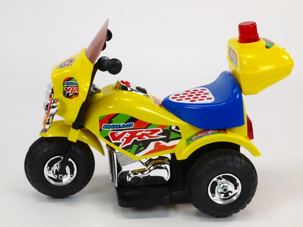 Elektrická motorka policie s hrajícím a blikajícím majákem, klaksonem, muzikou, LED osvětlením, otvíracím kufříkem, 6V, pro nej