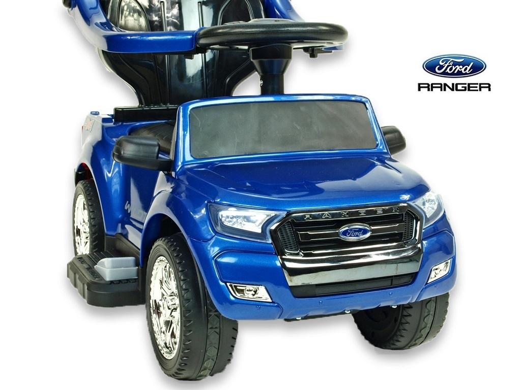Ford Ranger s vodící tyčí, stříškou a madly, pro nejmenší, modrá metalíza