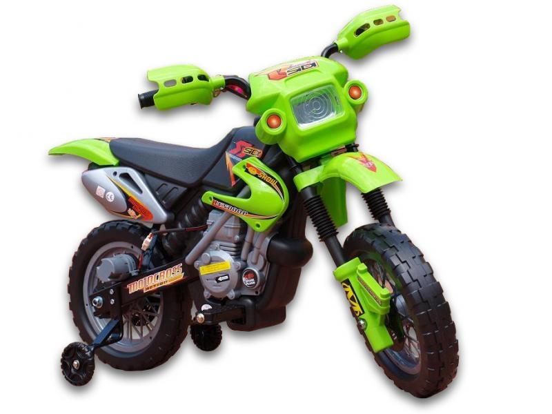 Elektrická motorka Crosska 6V, jako opravdová závodní, zelená