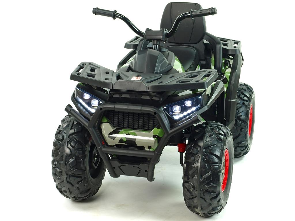 Čtyřkolka Xmen s EVA koly, 2.4G DO, klíčky, světly, voltmetrem, USB, čalouněnou sedačkou, polymer potah Camo maskáčová,