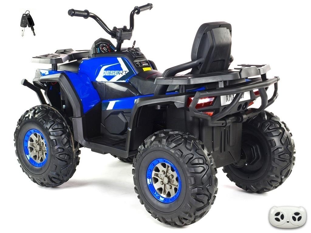 Čtyřkolka Xmen s EVA koly, 2.4G DO, klíčky, světly, voltmetrem, USB, čalouněnou sedačkou, modrá,