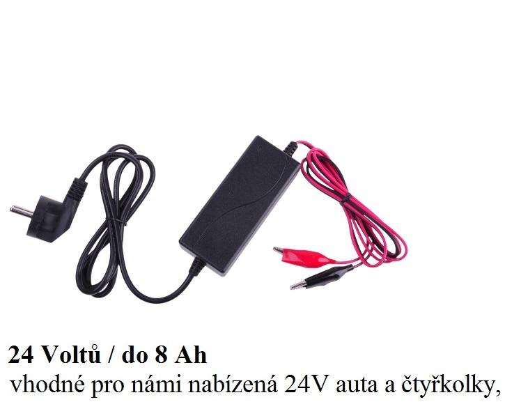 Nabíječka gelových 24V baterií (kapacity 0.8 až 8Ah) s LED ukazatelem nabité baterie, ideální pro 24V dětská vozítka