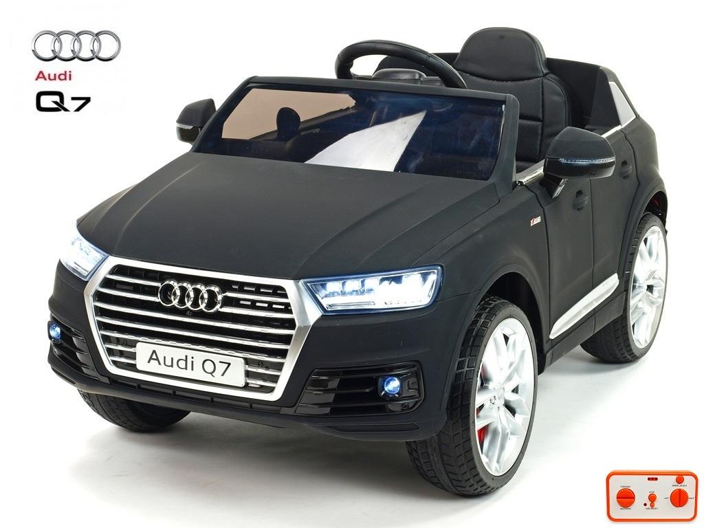 Elektrické SUV Audi Q7 NEW s 2,4G DO, otvíracími dveřmi, FM, USB, čalouněním, pérováním, EVA koly, LED osvícením, lakovaná mato