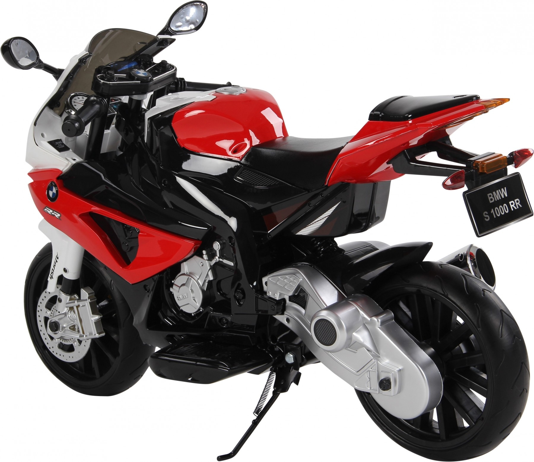 Elektrická motorka BMW S 1000RR, licence, superbike 12V, stojan nebo pomocná kolečka, červená