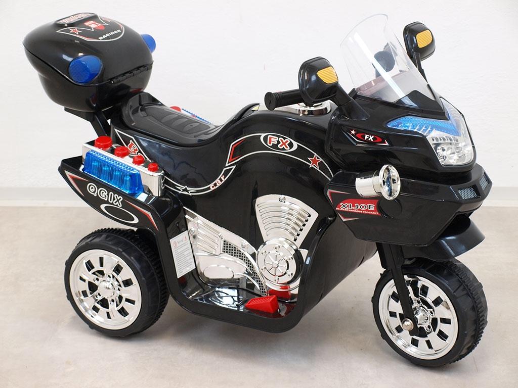 Elektrická motorka FX střední velikost, s barevnými LED efekty, hudbou, otvíracím kufříkem, 6V, černá
