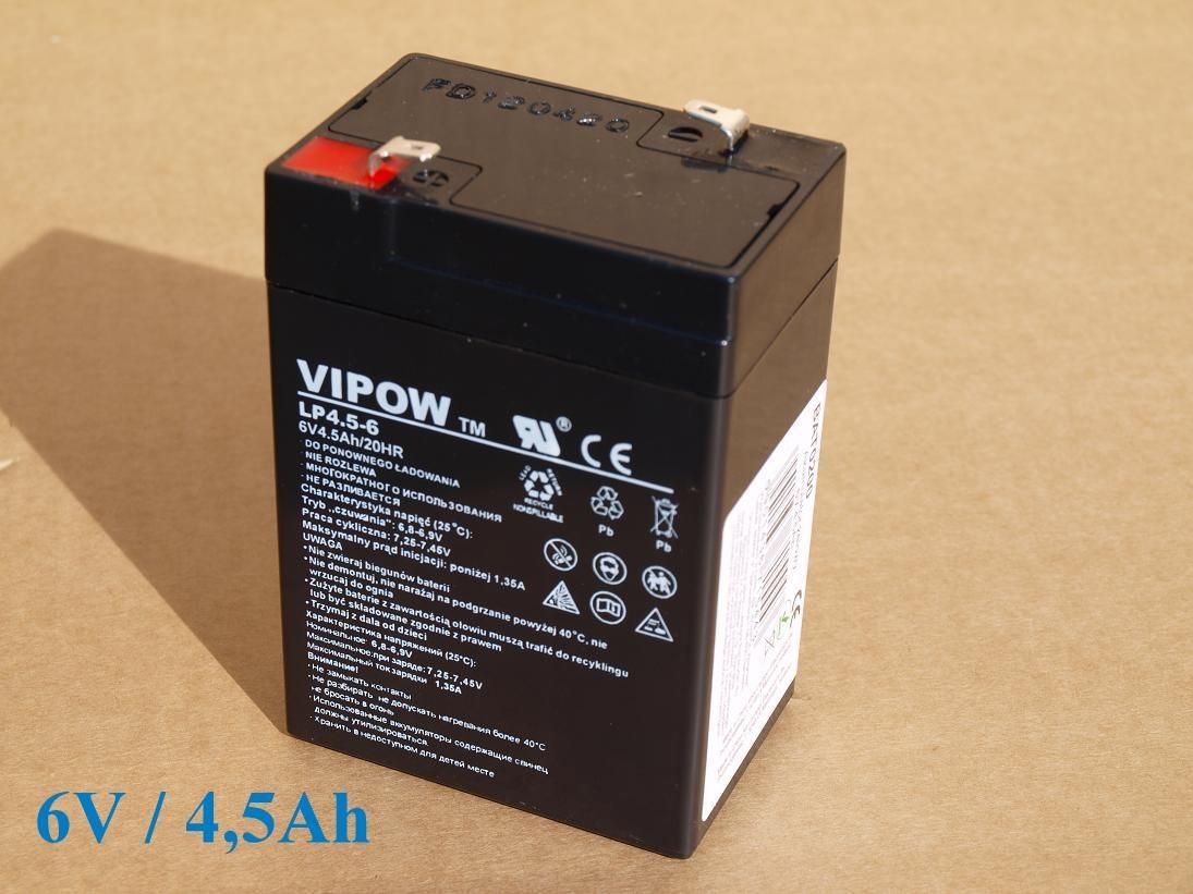Gelová nabíjecí baterie 6V - 4,5Ah/ 20HR,