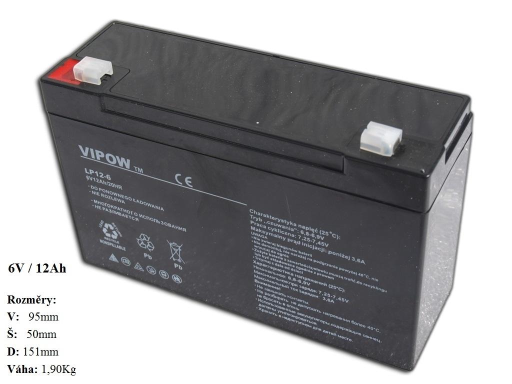 Gelová nabíjecí baterie 6V - 12Ah/ 20HR,