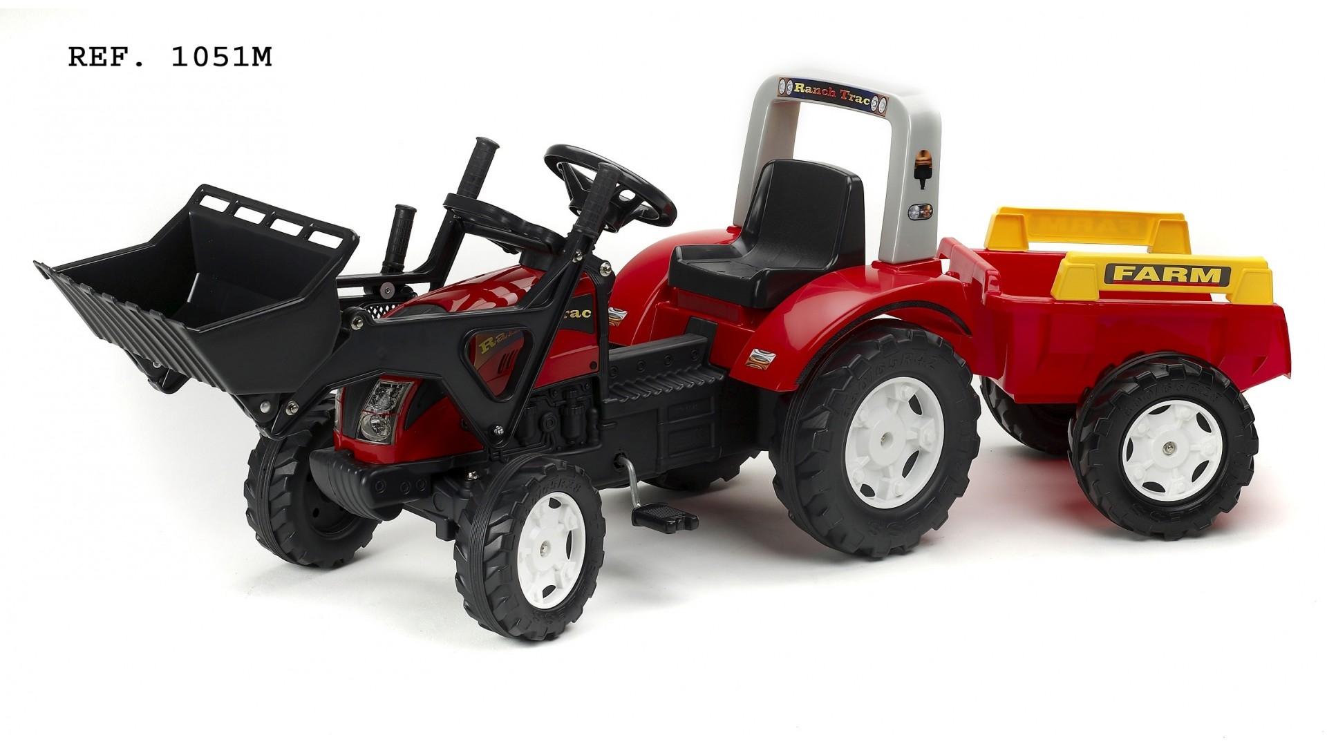 Veliký šlapací traktor Falk Ranch s funkční přední lžící, 2 kolovým valníkem, délka 191cm, Made in France,