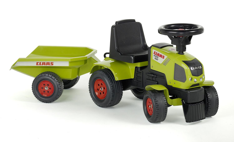 Odrážedlo traktor Baby Claas Axos 310 s 2 kolovým valníkem, nářadím, délka 97cm, Made in France,