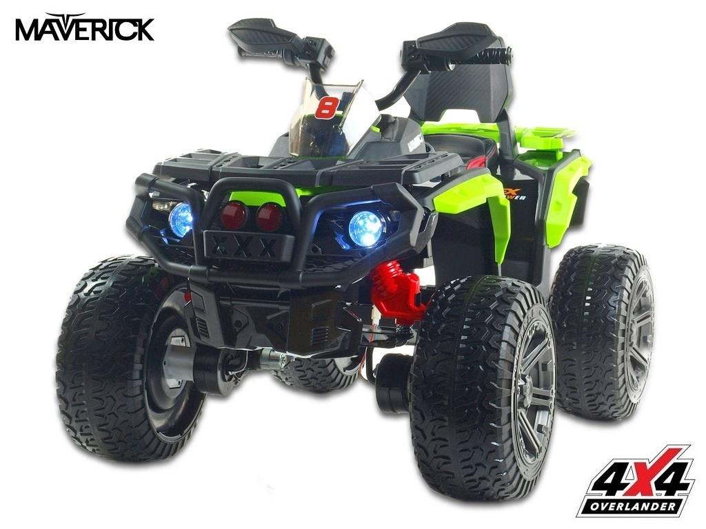 Čtyřkolka Maverick 4x4 s náhonem všech EVA kol, světly, voltmetrem, USB, čalouněnou sedačkou, zelená,