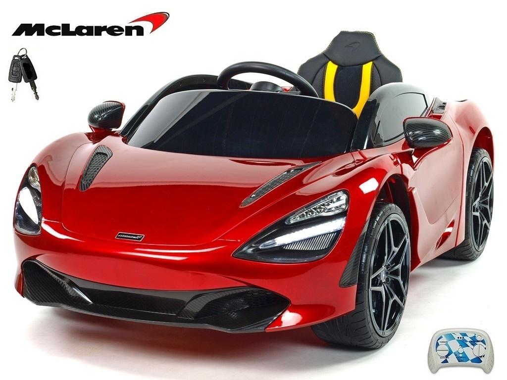 Elektrické auto McLaren s výklopnými dveřmi, 2.4G DO, klíčky, FM, USB, TF, bluetooth, luxusní sedačkou, lakovaná vínová metalíz