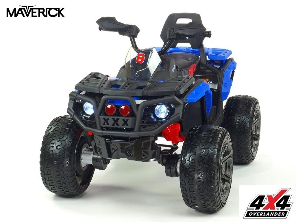 Čtyřkolka Maverick 4x4 s náhonem všech EVA kol, světly, voltmetrem, USB, čalouněnou sedačkou, modrá,