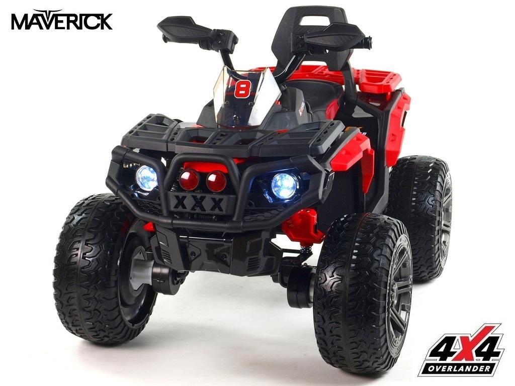 Čtyřkolka Maverick 4x4 s náhonem všech EVA kol, světly, voltmetrem, USB, čalouněnou sedačkou, červená,