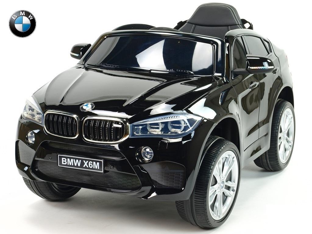Elektrické SUV BMW X6M s 2,4G bluetooth DO, USB, TF, EVA koly, posuvnou čalouněnou sedačkou, lakované černé