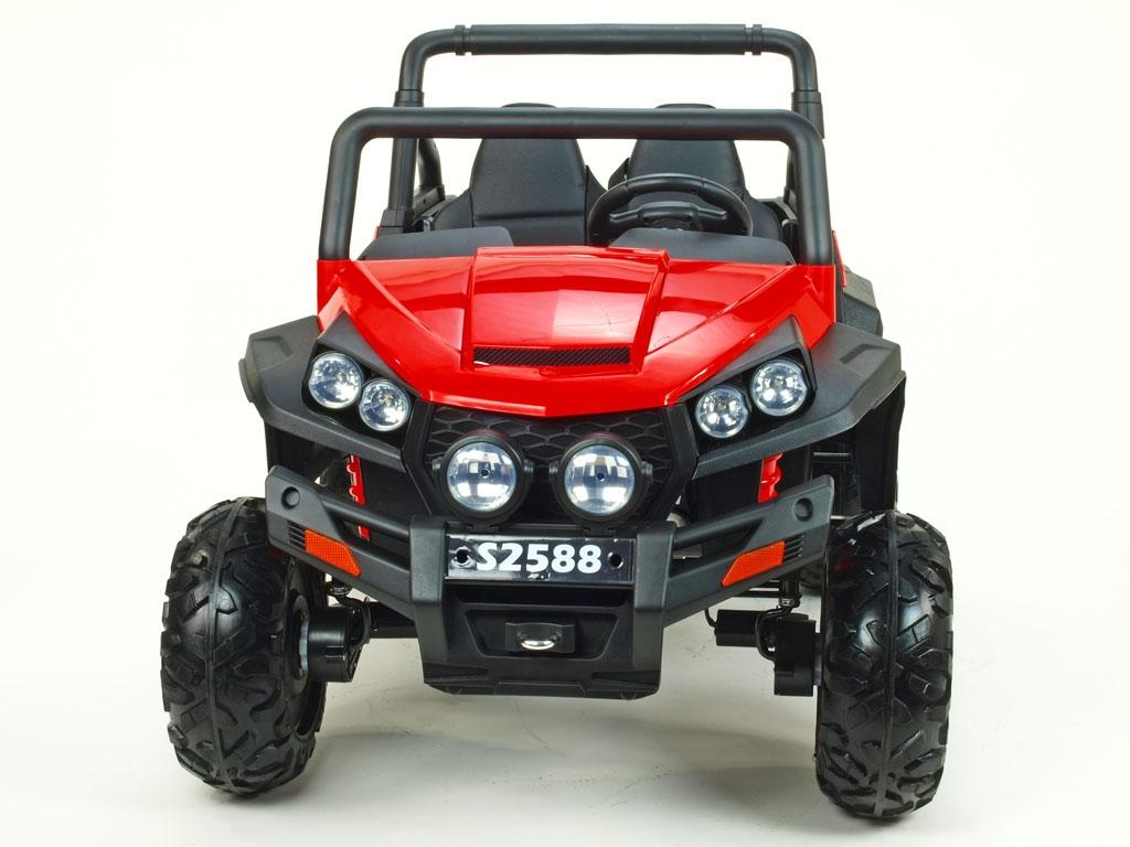 Elektrická bugina dvoumístná V-Twin 4x4, náhon 4 EVA kol, s 2.4G DO, FM, Mp3, TF, bluetooth, čalouněný sedák 57cm, červená