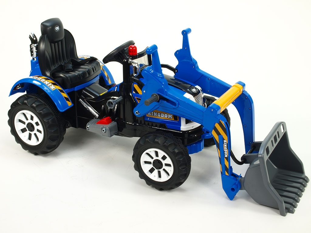 Elektrický traktor Kingdom s ovladatelnou nakládací lžící, mohutnými koly a konstrukcí, 2x motor 12V, 2x náhon, modrý