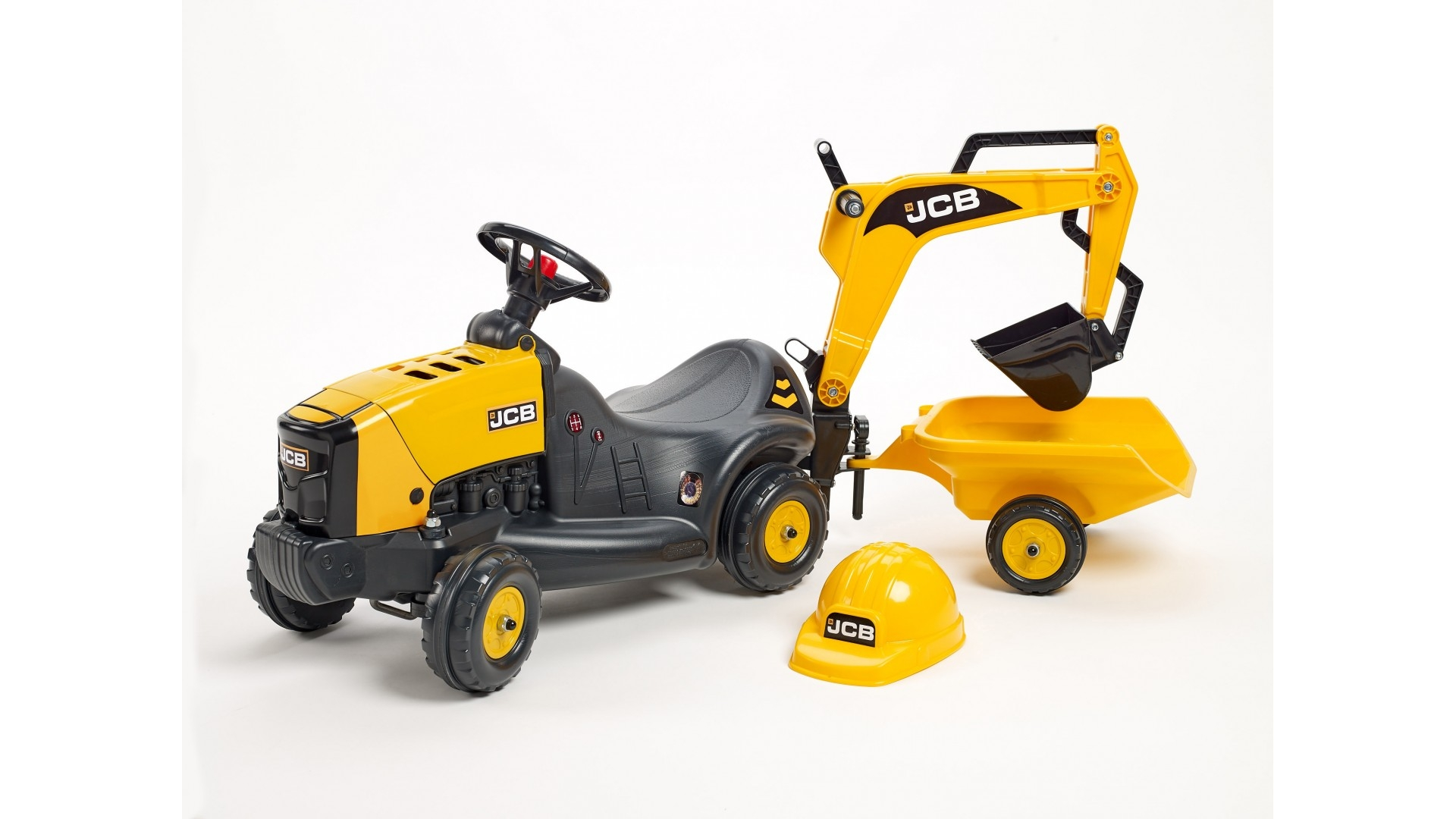 Odrážedlo JCB traktor 3035 s nakládací lžící, vozíkem a helmou, délka 121cm, Made in France,