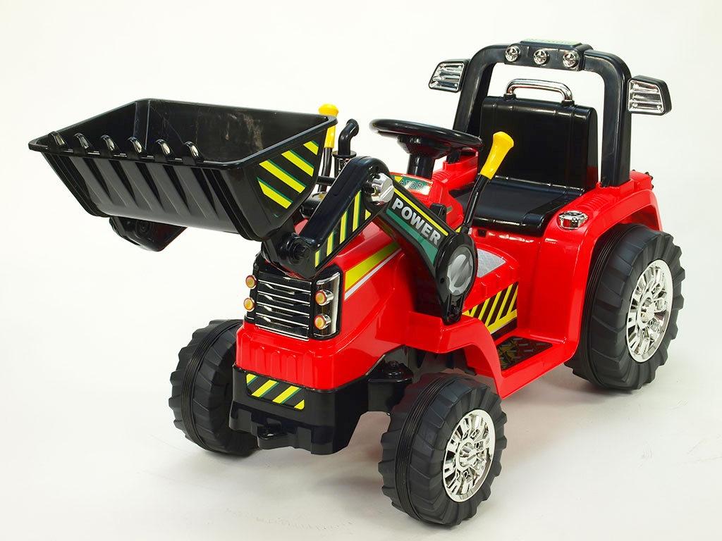 Elektrický traktor 12V s 2.4G DO, lžíce, červený