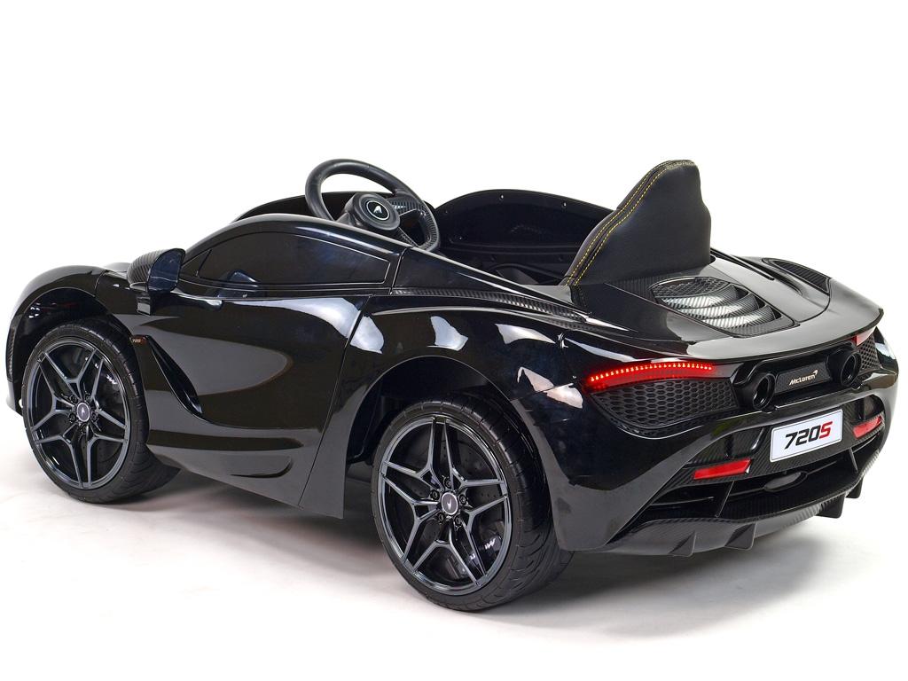 Elektrické auto McLaren s výklopnými dveřmi, 2.4G DO, klíčky, FM, USB, TF, bluetooth, luxusní sedačkou, lakovaná černá metalíza