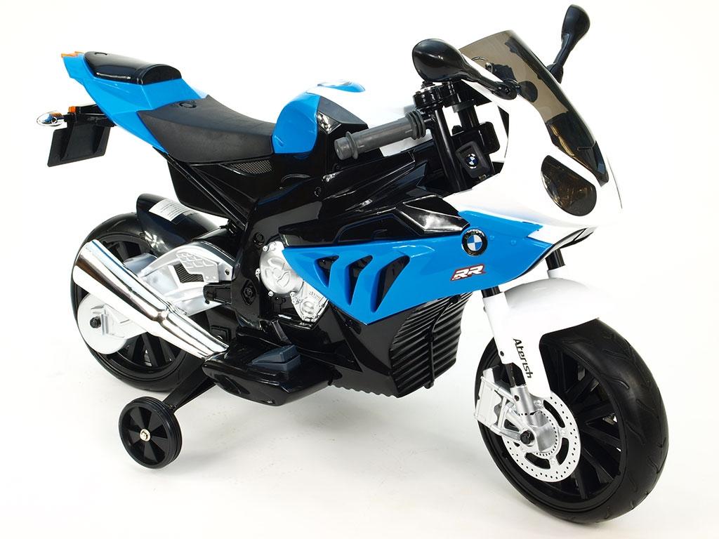 Elektrická motorka BMW S 1000RR, licence, superbike 12V, stojan nebo pomocná kolečka, modrá