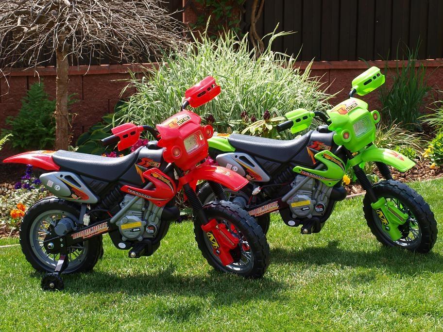 Elektrická motorka Crosska 6V, jako opravdová závodní, žlutá