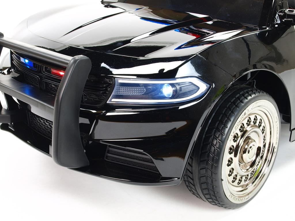 Elektrické autíčko USA policie malé s 2.4G DO, policejní sirénou a osvětlením, megafonem, EVA koly, otvíracími dveřmi, čalouněn