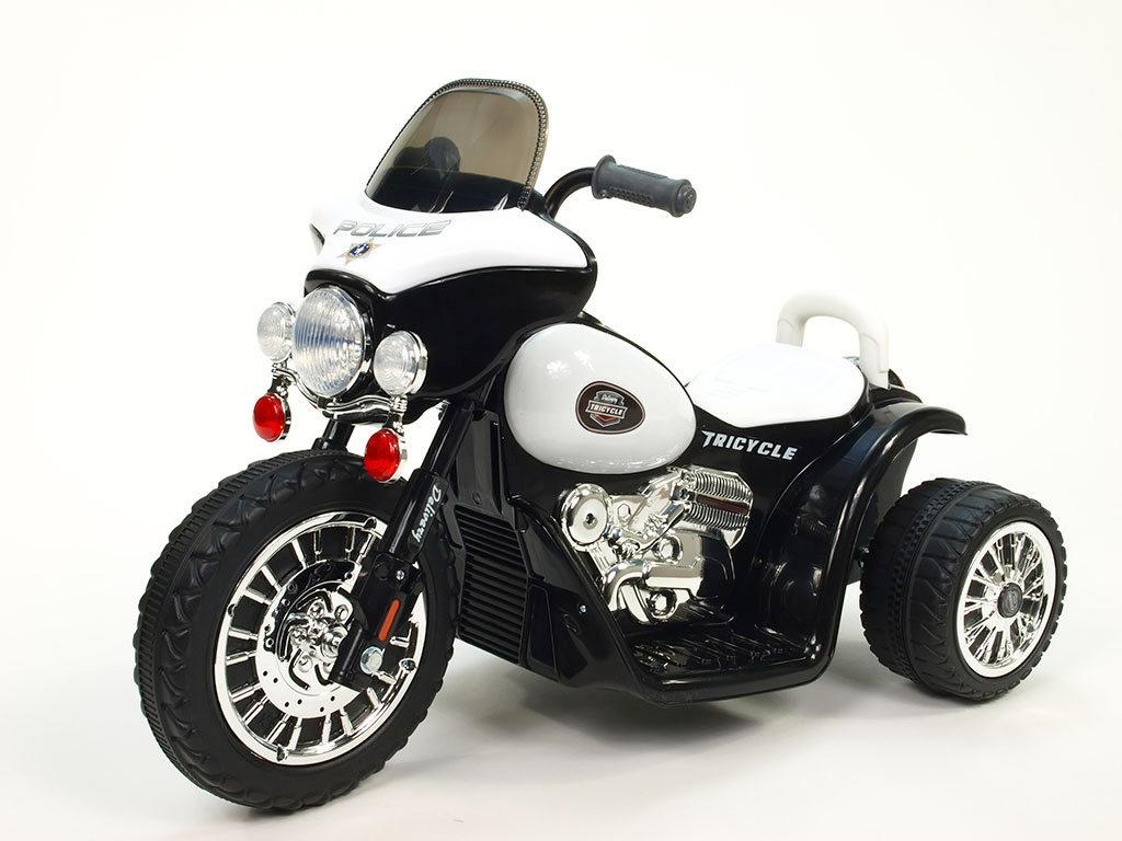 Elektrická motorka Chopper Harleyek na masivních kolech pro začínající harleykáře, 6V, černý
