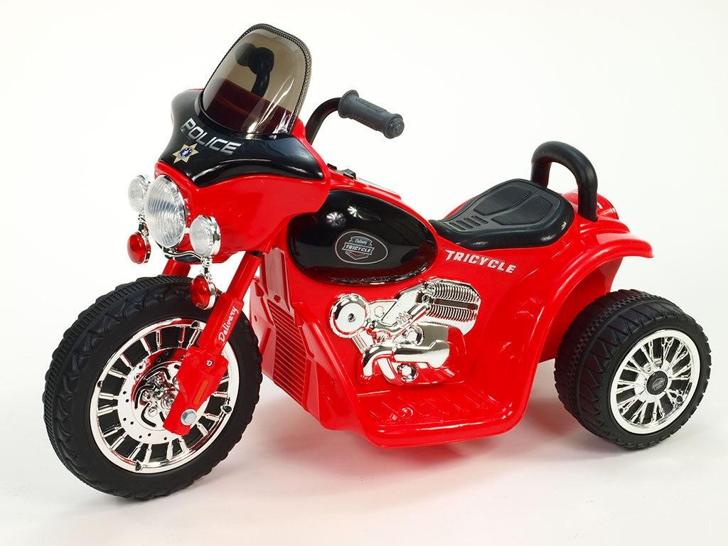 Elektrická motorka Chopper Harleyek na masivních kolech pro začínající harleykáře, 6V, červený