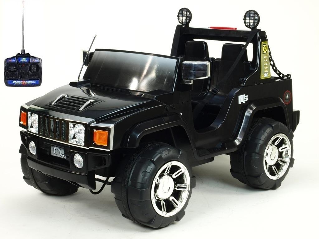Elektrický džíp Humvy dvoumístný s dálkovým ovládáním, nákladovým prostorem, FM rádiem, MP3, 2x posuvná sedačka 25 cm, 12V, čer