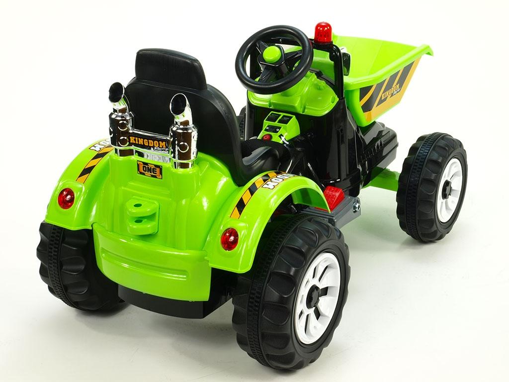 Elektrický traktor Kingdom s výklopnou korbou, mohutnými koly a konstrukcí, 2x motor 12V, 2x náhon, zelený