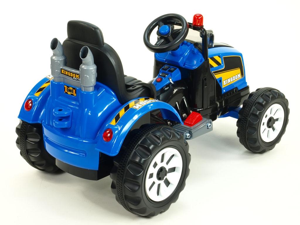 Elektrický traktor Kingdom s mohutnými koly a konstrukcí, modrý
