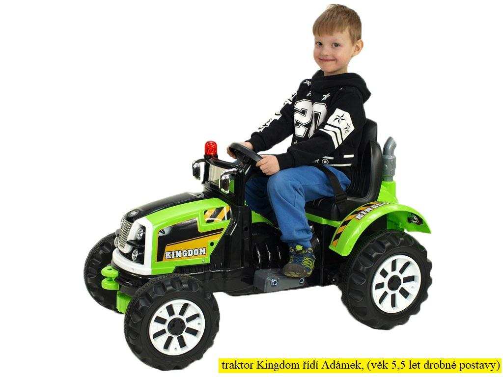 Elektrický traktor Kingdom s mohutnými koly a konstrukcí, zelený