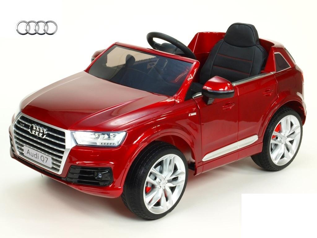Elektrické SUV Audi Q7 NEW s 2,4G DO, otvíracími dveřmi, FM, USB, čalouněním, pérováním, EVA koly, LED osvícením, vínová metalí