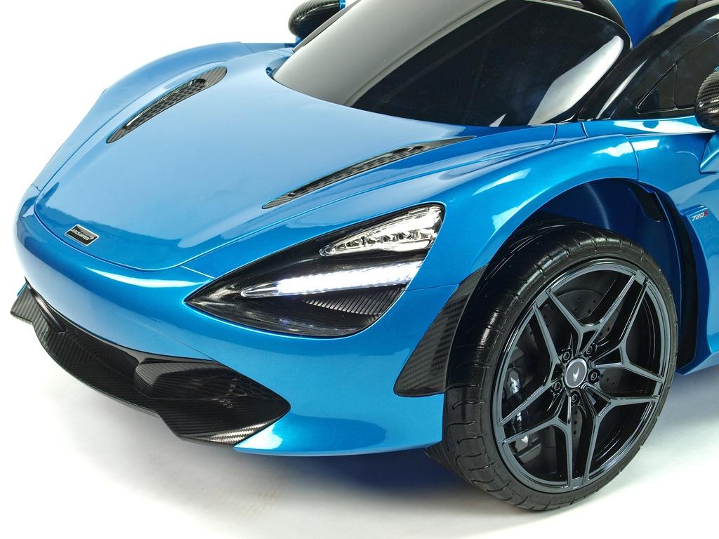 Elektrické auto McLaren s výklopnými dveřmi, 2.4G DO, klíčky, FM, USB, TF, bluetooth, luxusní sedačkou, lakovaná modrá metalíza