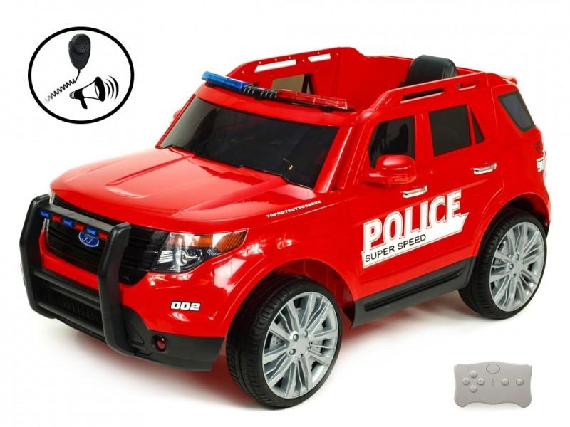 Elektrické auto USA policie s 2,4G, megafon, policejní LED a zvukové efekty, červené