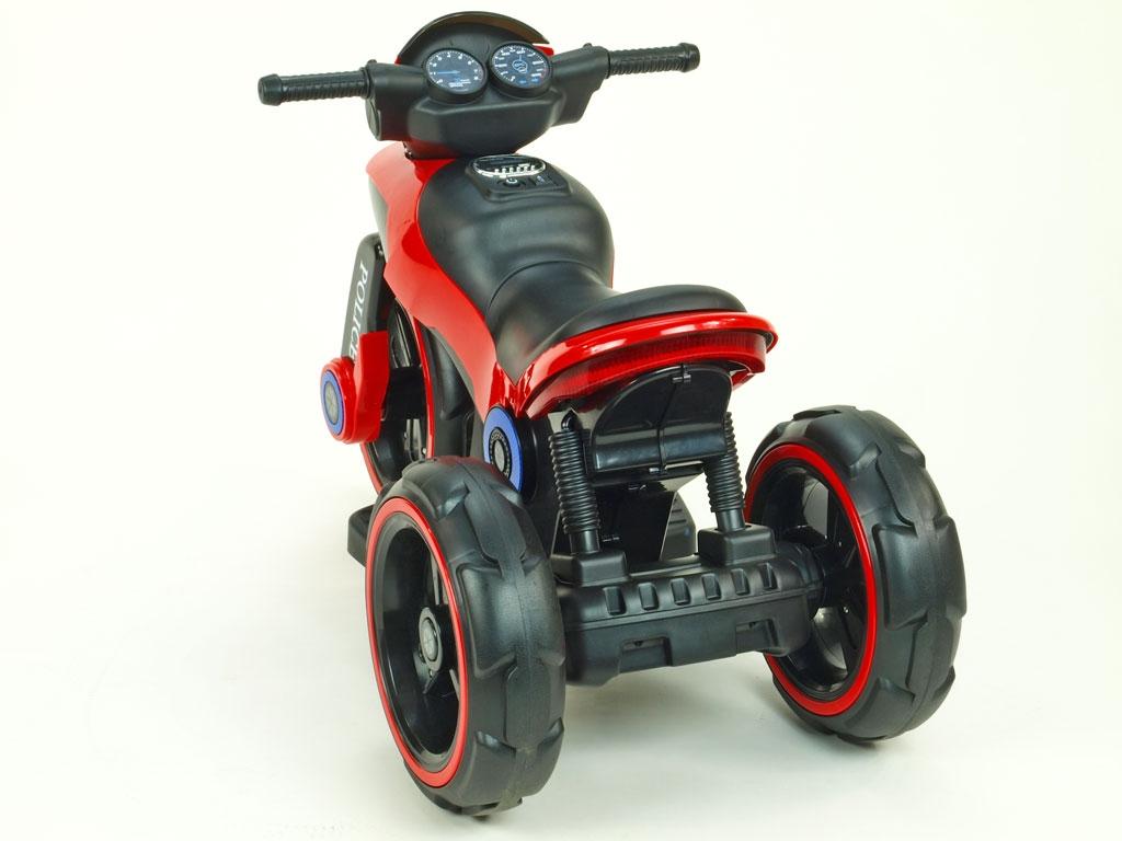 Elektrická motorka fantastická POLICE na velikých EVA kolech, atraktivní design, USB,TF,Mp3, 2x náhon, 2 motory 6V, červená