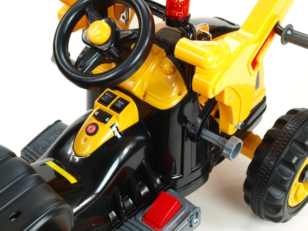 Elektrický traktor Kingdom s ovladatelnou nakládací lžící, mohutnými koly a konstrukcí, 2x motor 12V, 2x náhon, žlutý