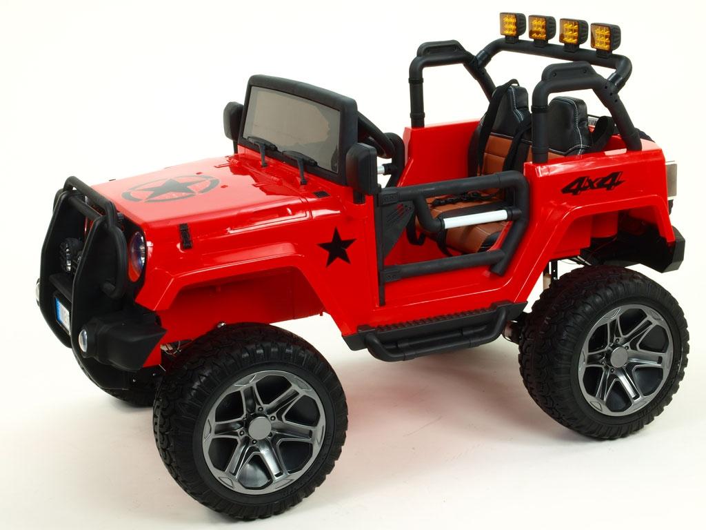 Elektrický džíp wrangler 4x4, červený