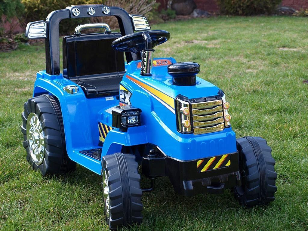 Elektrický traktor 12V, s mohutnými koly a konstrukcí, zvukovými a světelnými LED efekty, 2xnáhon, modrý