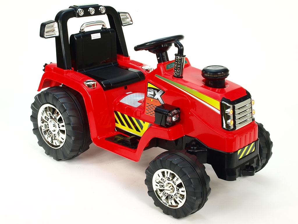 Elektrický traktor 12V, s mohutnými koly a konstrukcí,  zvukovými a světelnými LED efekty, 2xnáhon, červený