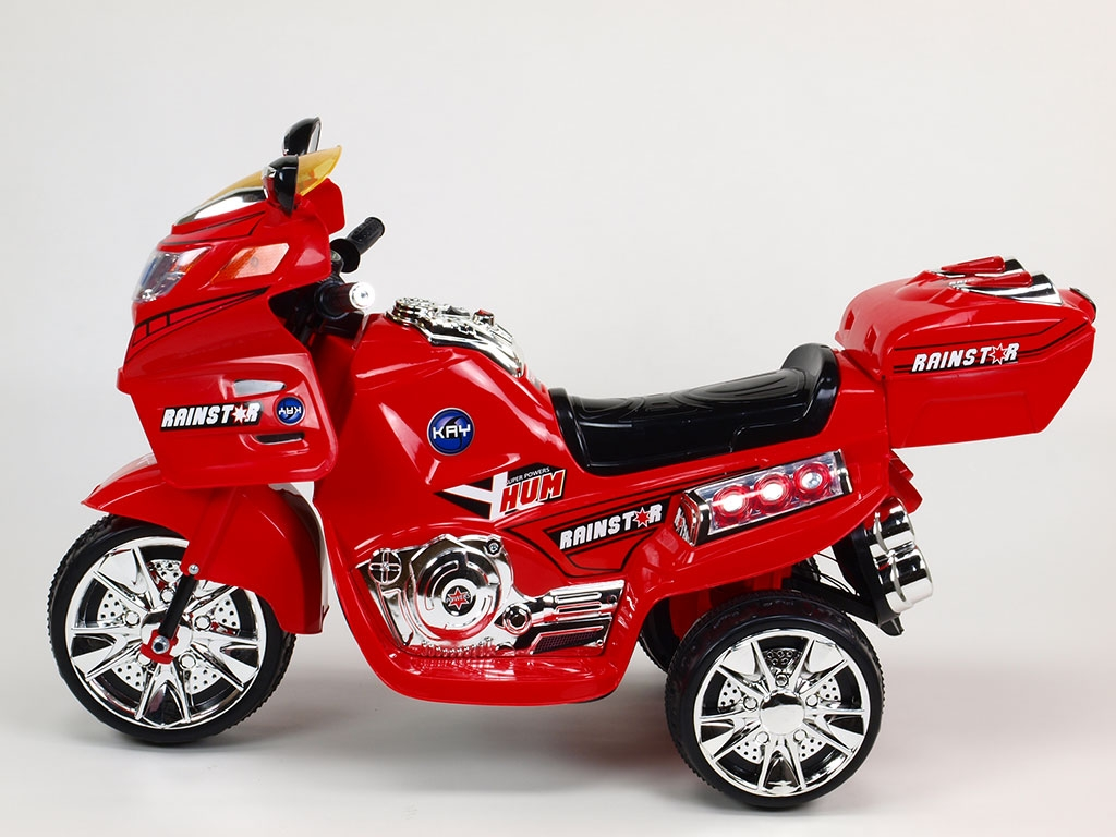 Elektrická motorka NEW Viper, LED efekty, Mp3, muzika, kufřík na drobnosti, 6V, červená