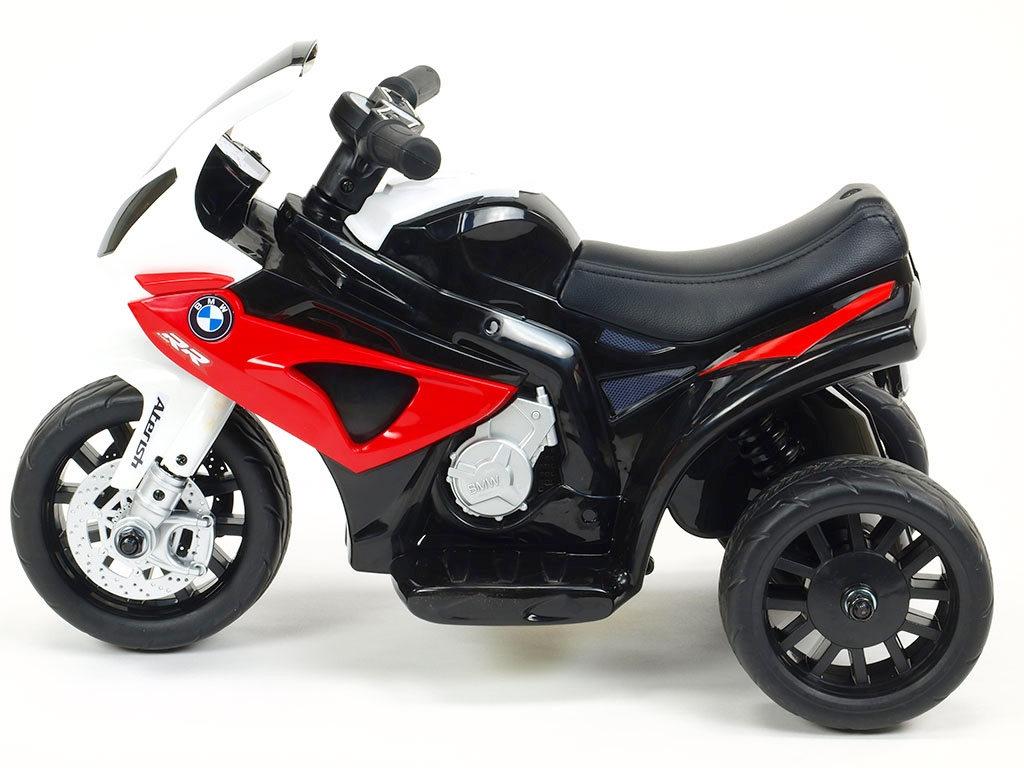 Elektrická motorka Trike BWM S1000RR, minimotorka pro nejmenší a začínající s LED světly, muzikou, čalouněnou sedačkou, 6V, čer