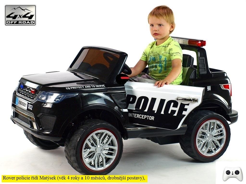 Elektrické SUV Rover policie 911 Interceptor, s 2.4G DO, 4x4, LED efekty, osvětlená kola, siréna, USB, čalouněná sedačka