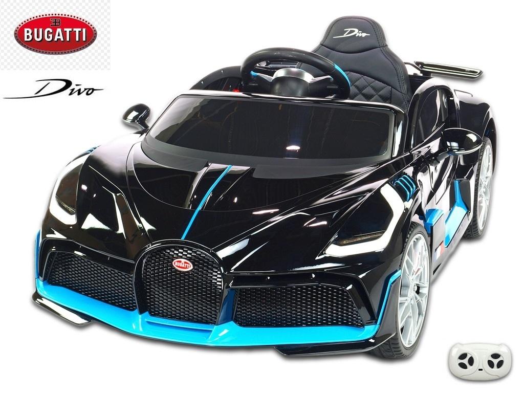 Elektrické auto Bugatti Divo s 2.4G DO, otvíracími dveřmi, EVA koly, USB, LED osvětlení, luxusní sporťák, černý