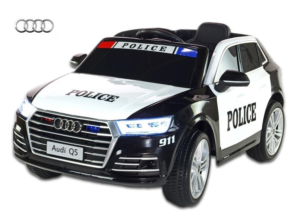 Elektrické SUV Audi Q5 NEW Policie s 2,4G DO, policejní majáky a siréna, FM rádio, USB, bluetooth, voltmetr, čalounění, pérován